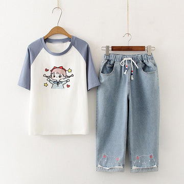 Modakawa Set Blue / M Girl Print T-Shirt Cat Embroidery Drawstring Denim Jeans Set