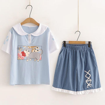 Modakawa Set Blue Set / M Cat Print Button T-Shirt Embroidery Shorts Set