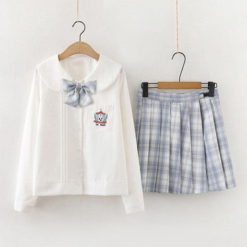 Modakawa Set Blue Set / S Rabbit Embroidery Pocket Bow Tie Shirt Plaid Skirt Two-Piece Set