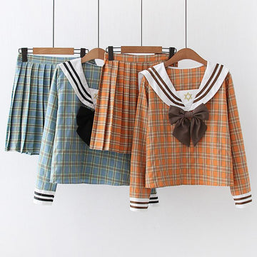 Modakawa Set Bow Sailor Collar Plaid Sweatshirt Pleated Skirt Two-Piece Set