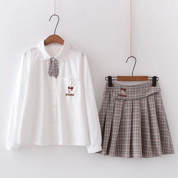 Modakawa Set Brown Set / M Embroidery Pocket Shirt Plaid Pleated Skirt Two-Piece Set