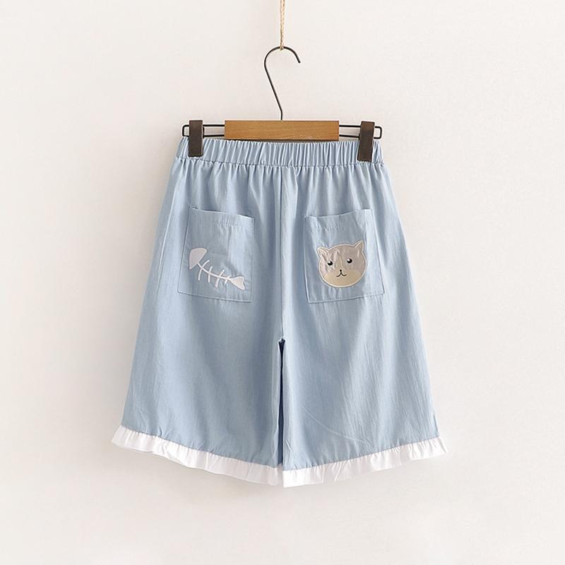 Modakawa Set Cat Print Button T-Shirt Embroidery Shorts Set