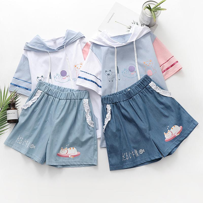 Modakawa Set Cat Print Japanese Color Block Hooded T-Shirt Ruffle Shorts Set