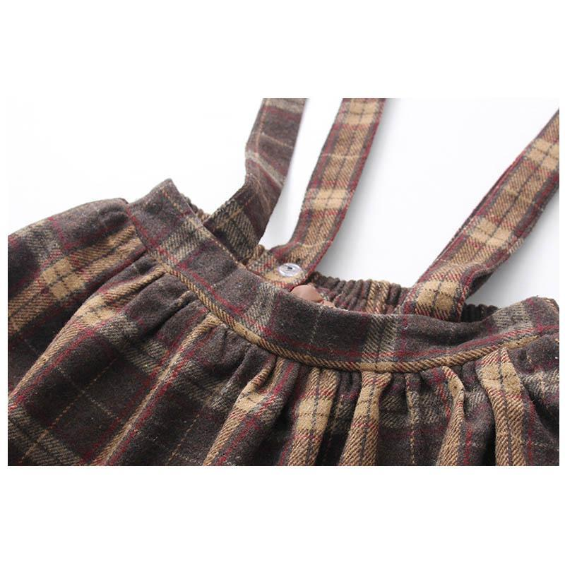 Modakawa Set College Style Plaid Bow Sweatshirt Overall Skirt Set