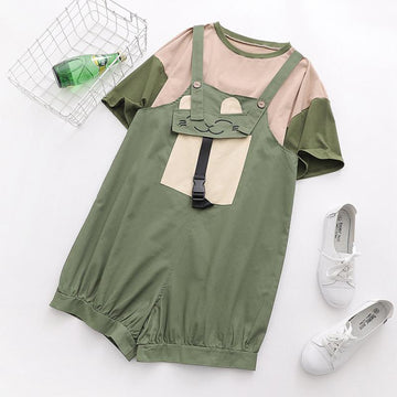 Modakawa Set Color Block T-Shirt Cat Pocket Overalls Set