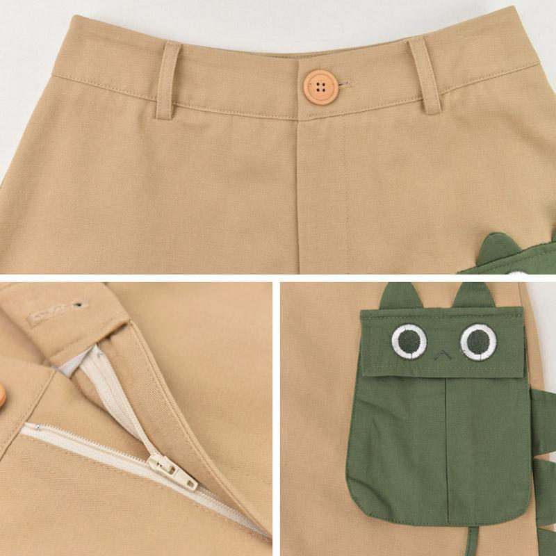 Modakawa Set Dinosaur T-shirt Pocket High Waist Shorts Set