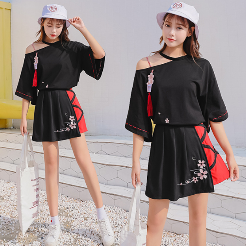 Modakawa Set Flower Embroidery Tassel Blouse High Waist Skirt Set