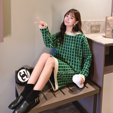 Modakawa Set Green / One Size Sweet Plaid Sweater Skirt Set