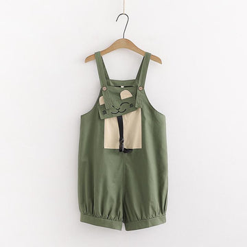 Modakawa Set Green Overalls / One Size Color Block T-Shirt Cat Pocket Overalls Set