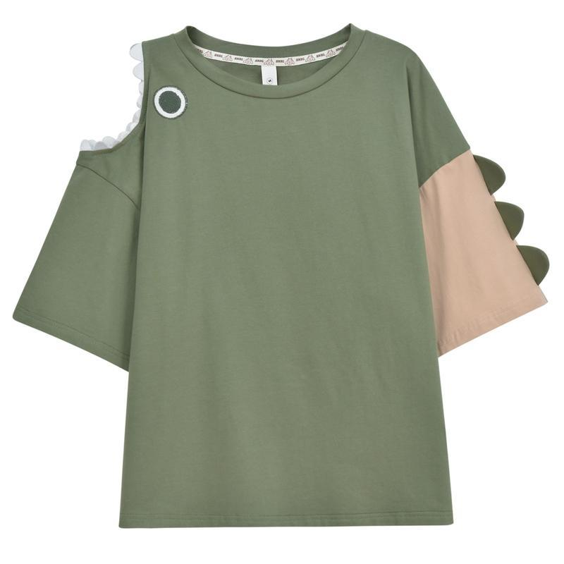Modakawa Set Green / S Dinosaur T-shirt Pocket High Waist Shorts Set
