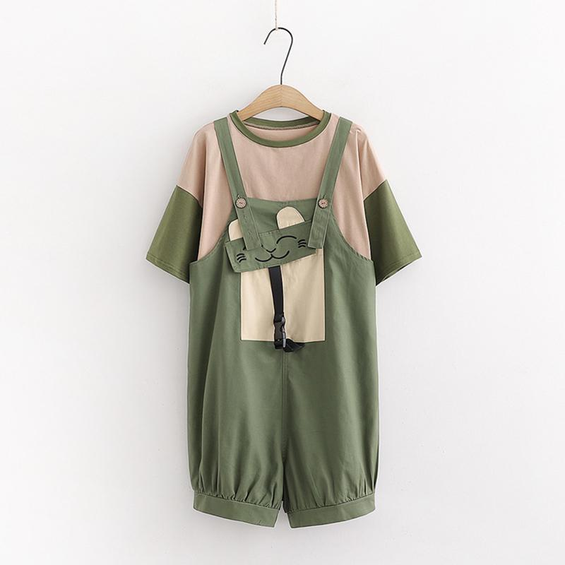 Modakawa Set Green Set / One Size Color Block T-Shirt Cat Pocket Overalls Set