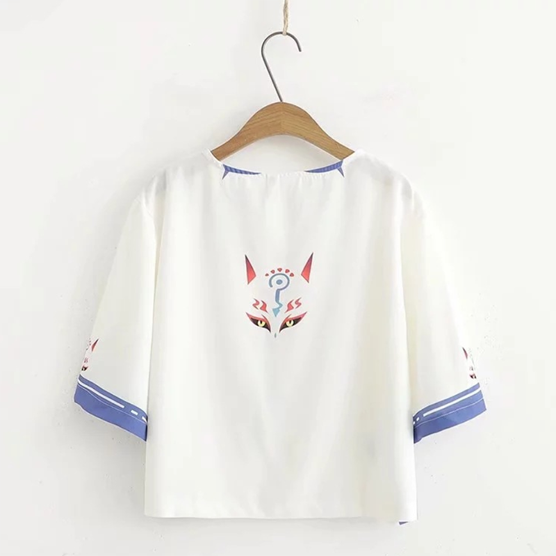 Modakawa Set Japanese Cartoon Fox Print T-shirt Skirt Set