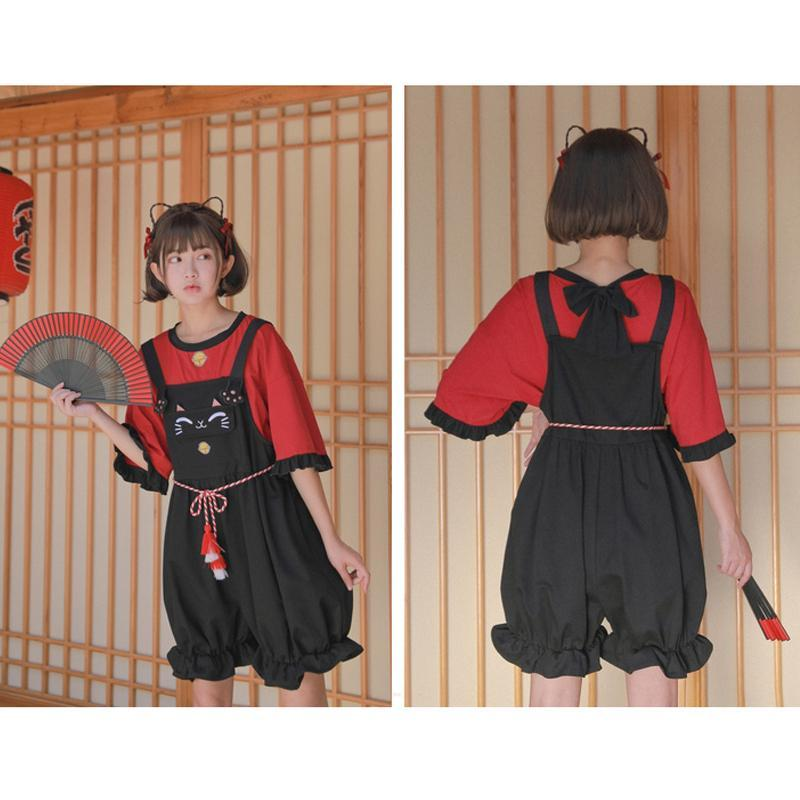 Modakawa Set Japanese Cat Bell T-shirt Tassels Belted Overalls Shorts Set