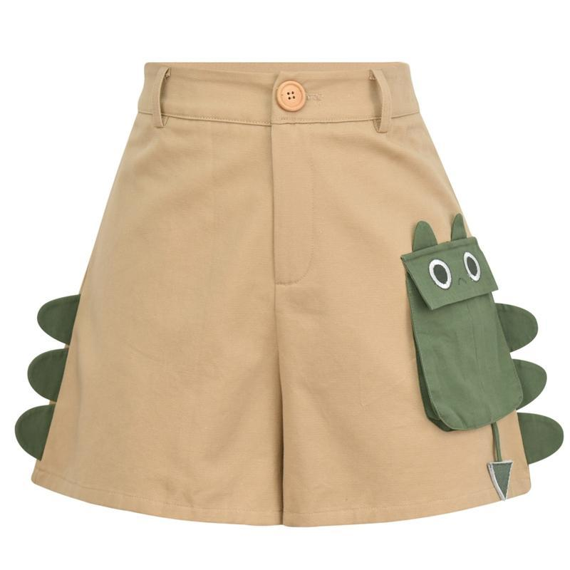 Modakawa Set Khaki / S Dinosaur T-shirt Pocket High Waist Shorts Set