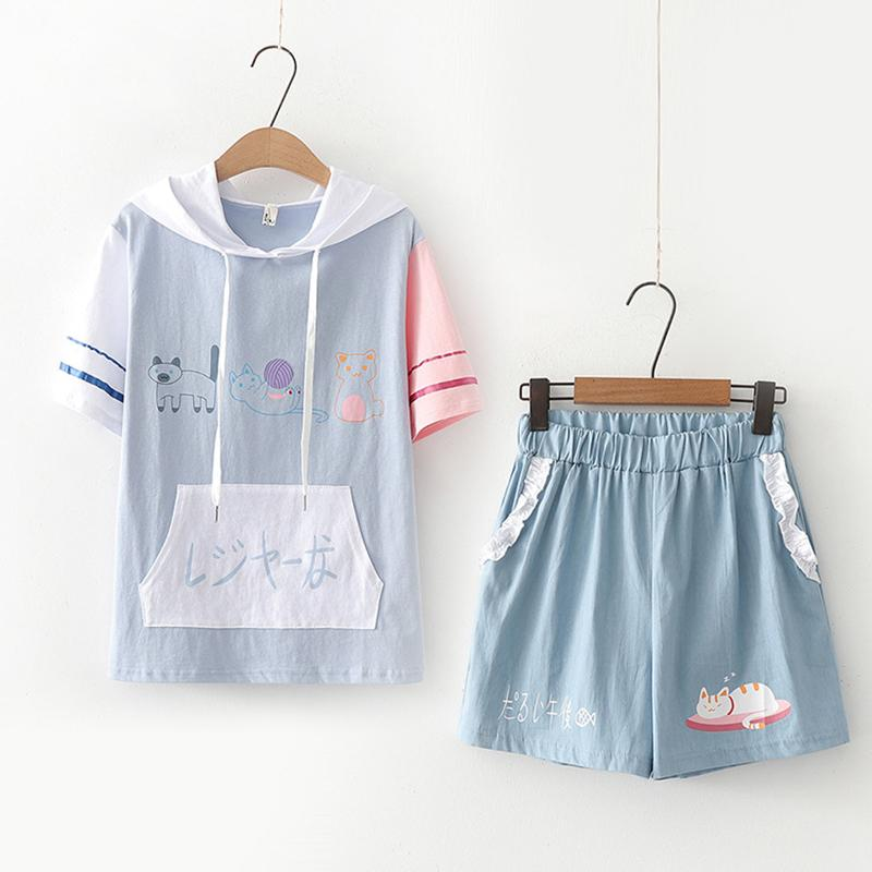 Modakawa Set Light Blue Set / M Cat Print Japanese Color Block Hooded T-Shirt Ruffle Shorts Set