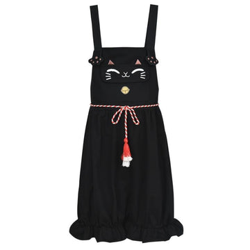 Modakawa Set Overalls / S Japanese Cat Bell T-shirt Tassels Belted Overalls Shorts Set