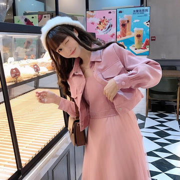 Modakawa Set Pink A / S Jacket Vest Dress Pure Color Set