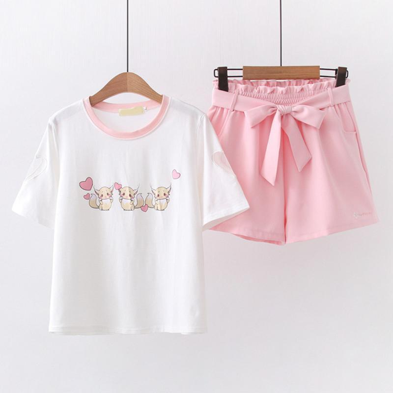 Modakawa Set Pink / M Squirrel Love Heart Print T-Shirt Sakura Embroidery Belt Shorts Set