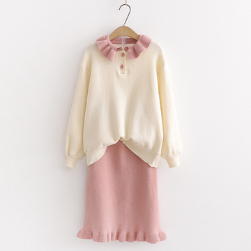 Modakawa Set Pink / One Size Pure Color Sweater Skirt Set