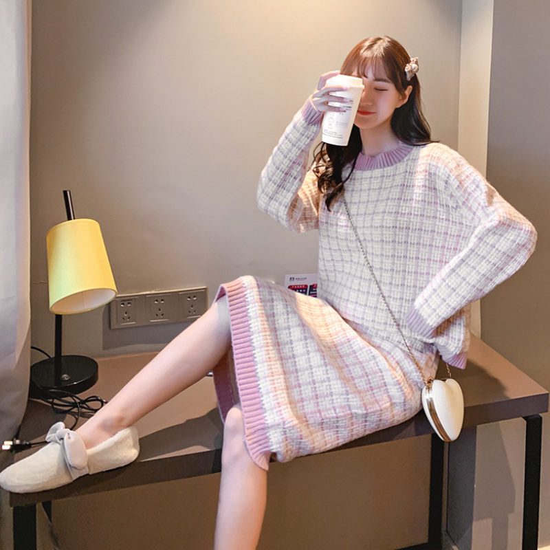 Modakawa Set Pink / One Size Sweet Plaid Sweater Skirt Set