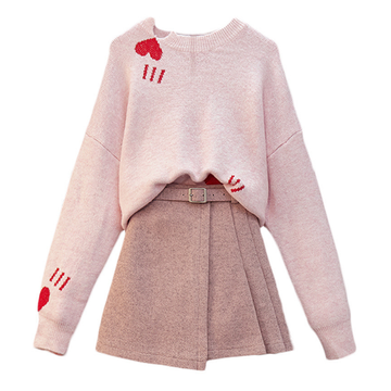 Modakawa Set Pink / S Love Heart Sweater A-Line Skirt Set