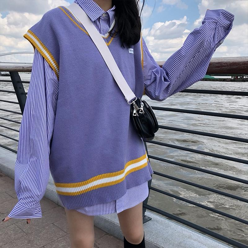 Modakawa Set Purple / One Size Loose Korean Shirt V Neck Vest Sweater Set