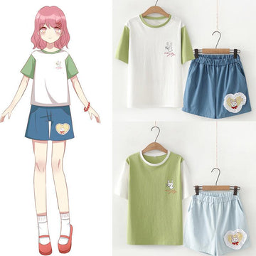 Modakawa set Rabbit Letter Print Color Block T-Shirt Love Heart Embroidery Shorts Set