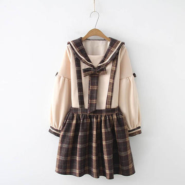 Modakawa Set Set / As Shown / One Size College Style Plaid Bow Sweatshirt Overall Skirt Set