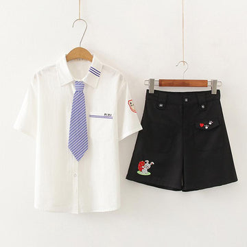 Modakawa Set Set / M Japanese Tie Shirt Rabbit Embroidery Shorts Set