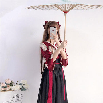 Modakawa Set Set / Red & Black / One Size Floral Red Black Han Costume Set