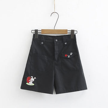 Modakawa Set Shorts / M Japanese Tie Shirt Rabbit Embroidery Shorts Set