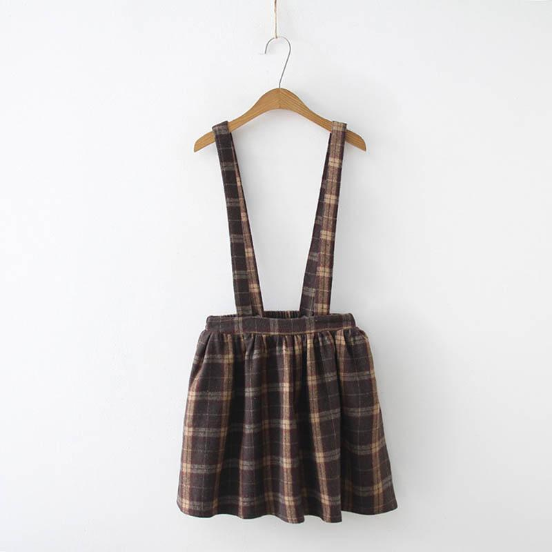 Modakawa Set Skirt / As Shown / One Size College Style Plaid Bow Sweatshirt Overall Skirt Set