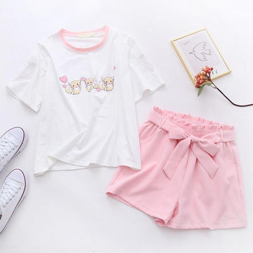 Modakawa Set Squirrel Love Heart Print T-Shirt Sakura Embroidery Belt Shorts Set