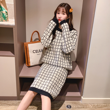 Modakawa Set Sweet Plaid Sweater Skirt Set