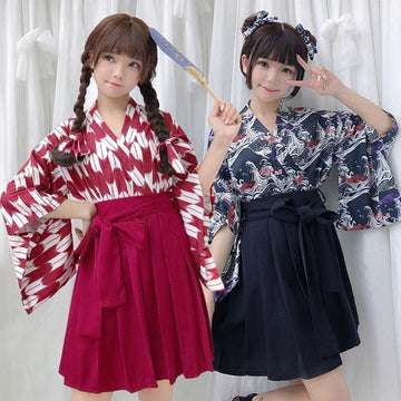 Modakawa Set Vintage Kimono Top Pleated Skirt Set