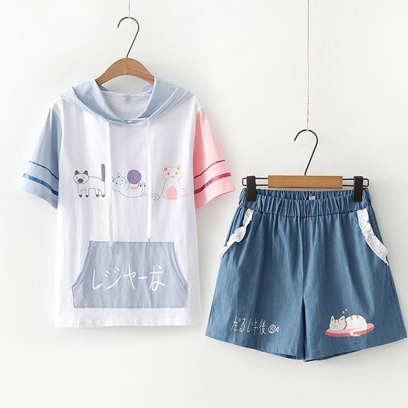 Modakawa Set White & Dark Blue Set / M Cat Print Japanese Color Block Hooded T-Shirt Ruffle Shorts Set