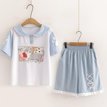 Modakawa Set White Set / M Cat Print Button T-Shirt Embroidery Shorts Set