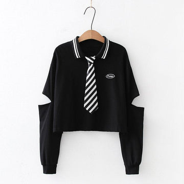 Modakawa Shirt Black / One Size Letter Embroidery Polo Stripe Tie Hollow Out Crop Shirt