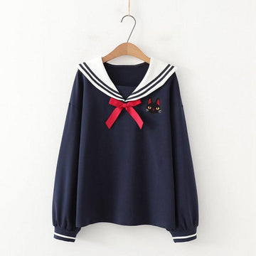 Modakawa Shirt Blue / One Size College Style Sailor Collar Bow Shirt