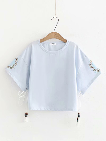Modakawa Shirt Blue Tassels Fishes Loose T-shirt
