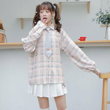 Modakawa Shirt Cartoon Embroidery Plaid Tie Shirt Vest Sweater Two Piece