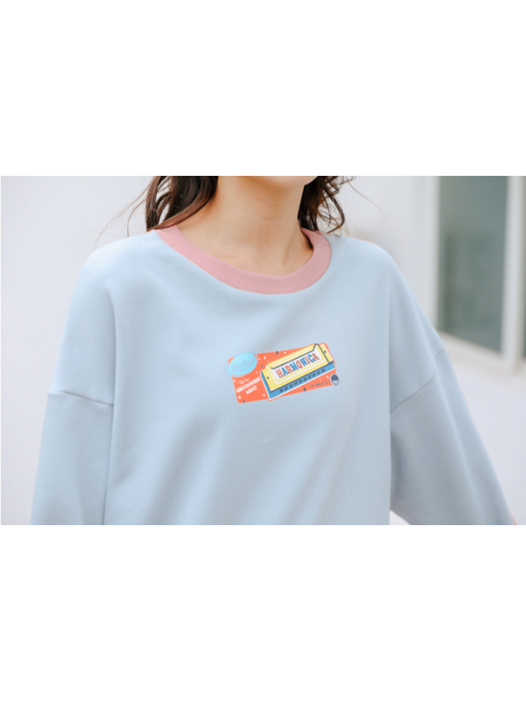 Modakawa Shirt Cartoon Print Color Block Long Sleeve Shirt