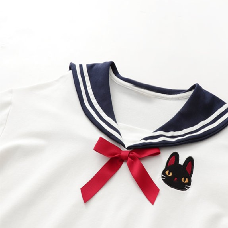 Modakawa Shirt College Style Sailor Collar Bow Shirt