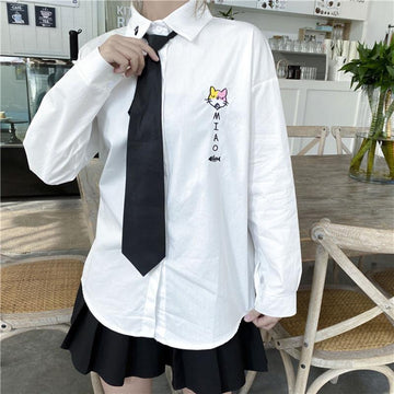 Modakawa Shirt Cute Kitty Embroidery Tie Shirt Blouse