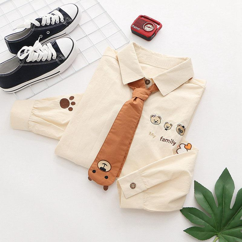 Modakawa Shirt Embroidery Bear Tie MY FAMILY Wooden Button Shirt