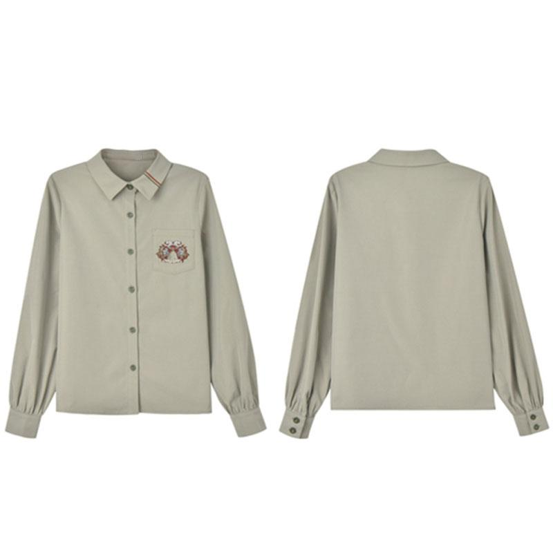 Modakawa Shirt Embroidery Pocket Stripe Polo Collar Shirt