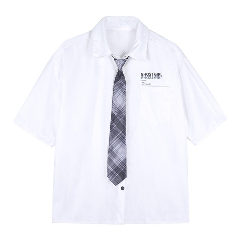Modakawa Shirt GHOST GIRL Letter Print Pocket Plaid Tie Shirt