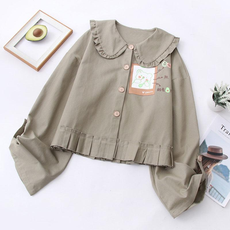 Modakawa Shirt Green / One Size Bear Print Ruffle Doll Collar Shirt