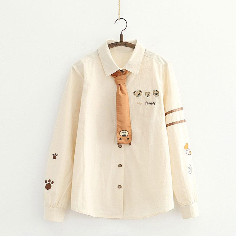Modakawa Shirt Khaki / M Embroidery Bear Tie MY FAMILY Wooden Button Shirt
