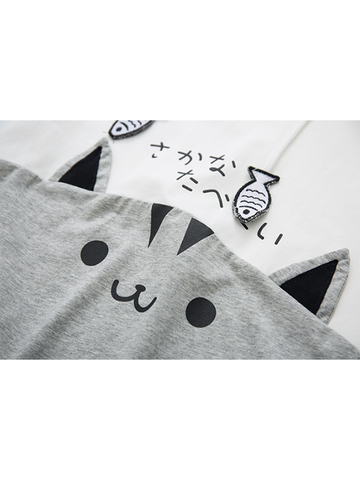 Modakawa Shirt M / Black Cat Fish Splice Short Sleeve Hoodie